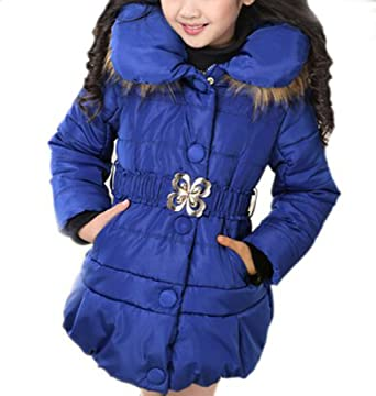 a4f6563de8d3 Arshiner Girls  Padded Winter Jacket with Bowknot Belt and Fur Hood 120(Age  For