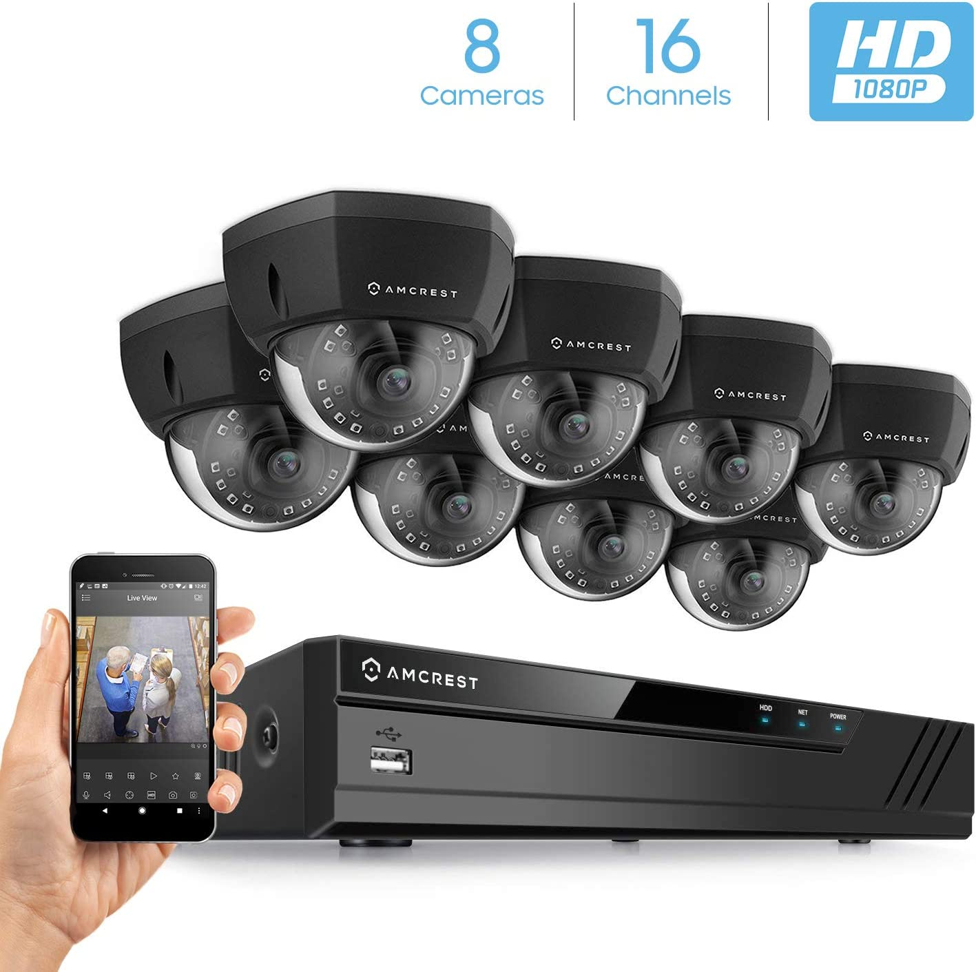 Amcrest 2MP 1080P Security Camera System, w 4K 16CH 8-Port PoE NVR 8 x 2-Megapixel 3.6mm Wide Angle Lens Weatherproof Metal Dome PoE IP Cameras, NV4116E-HS-IP2M-851EB8 Black