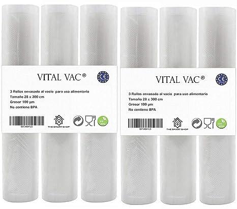6 Rollos Gofrados de 28x300 cm para Bolsas de Envasadora al Vacío de Alimentos. Reutilizables, Válidos para Conservación, Congelación, Microondas y ...