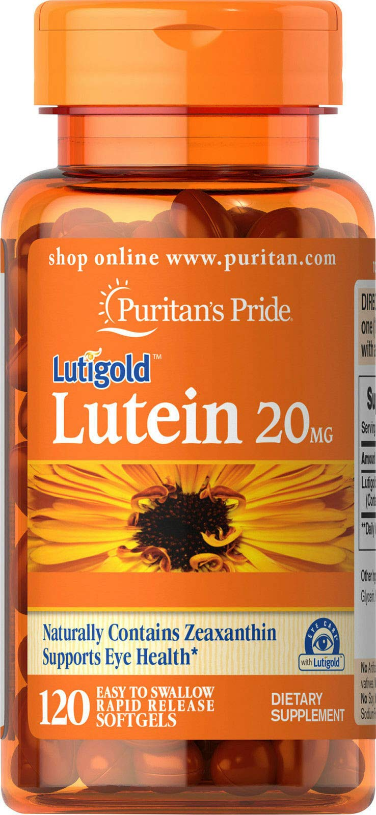 Puritans Pride Lutein 20 mg with Zeaxanthin Softgels, 120 Count by Puritans Pride