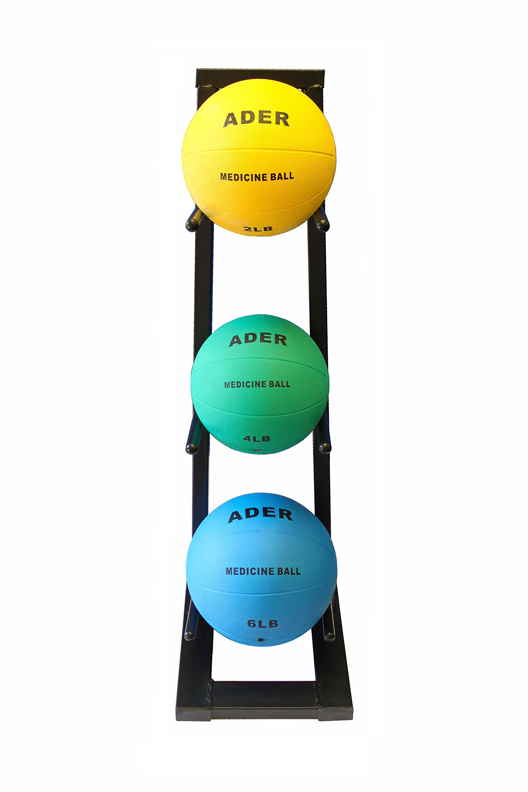 Ader Medicine Ball Set w/Rack (Rack + 2, 4, 6 LB Med Balls) by Ader Sporting Goods (Image #1)