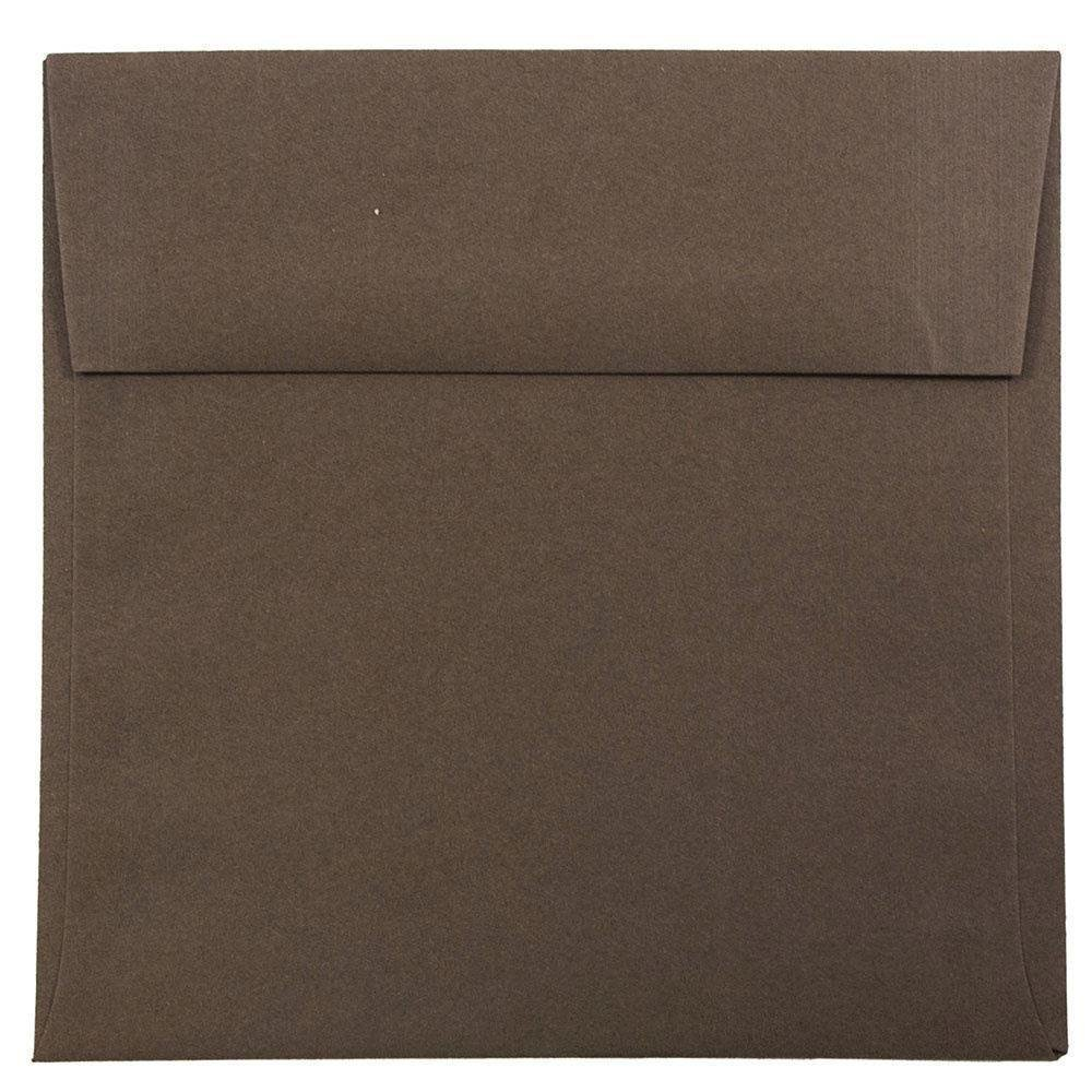 JAM Paper 6.5'' x 6.5'' Square Envelopes - Chocolate Brown Recycled - 25/pack