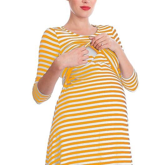 HUAN Las Mujeres Embarazadas Vestido Camisón de Lactancia Lactancia Camisón, Vestido de la Raya (Color : 1, Tamaño : Metro): Amazon.es: Jardín