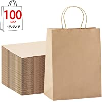 """Halulu 10"""" x 5"""" x 13"""" Brown Kraft Paper Bags - Gift Bags with Handles, Shopping Durable Reusable Merchandise Retail Bags (100pc)"""