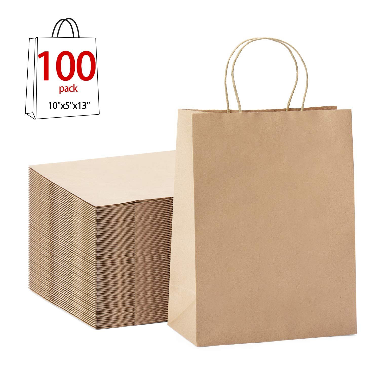 GSSUSA 100Pcs 10'' x 5'' x 13'' Brown Kraft Paper Bags Gift Bags with Handles, Shopping Durable Reusable Merchandise Retail Bags by GSSUSA