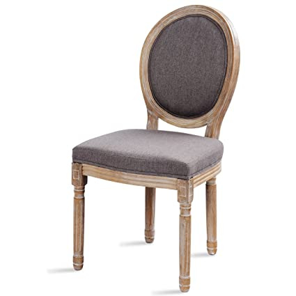 Giantex Rustic Dining Side Chair King Louis Natural Style Distressed Wood  French Retro Upholstered Fabric Wooden - Amazon.com - Giantex Rustic Dining Side Chair King Louis Natural