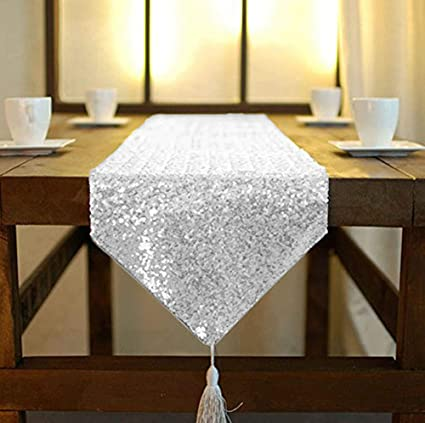 Camino de mesa ShinyBeauty de lino con lentejuelas brillantes ...