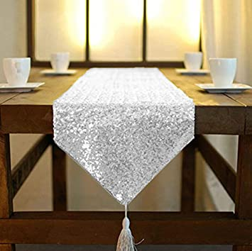 shinybeauty Shimmer Silber - Pailletten Tischläufer tassel-30 X 180 ...