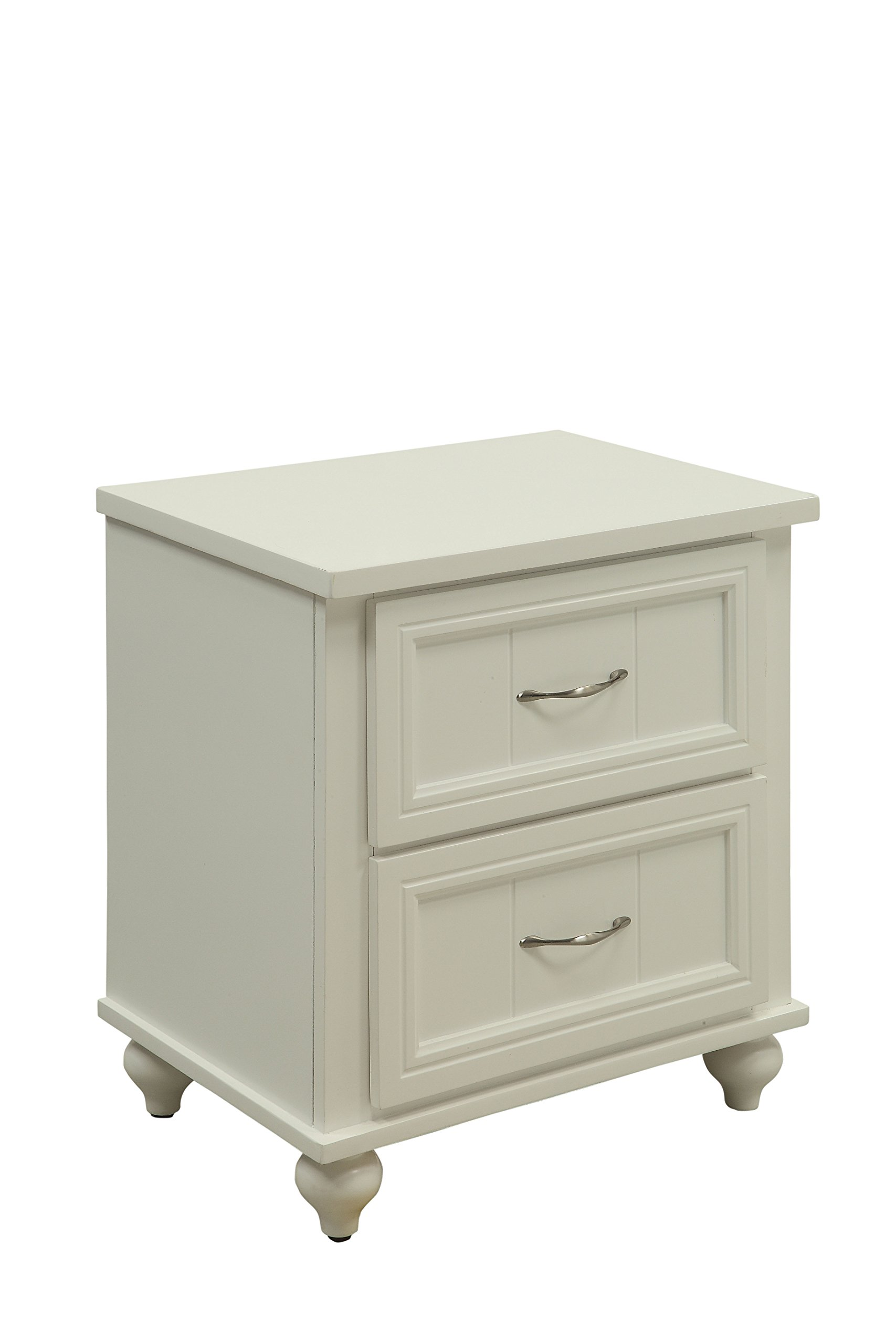 HOMES: Inside + Out Felix Transitional 2-Drawer Nightstand, White