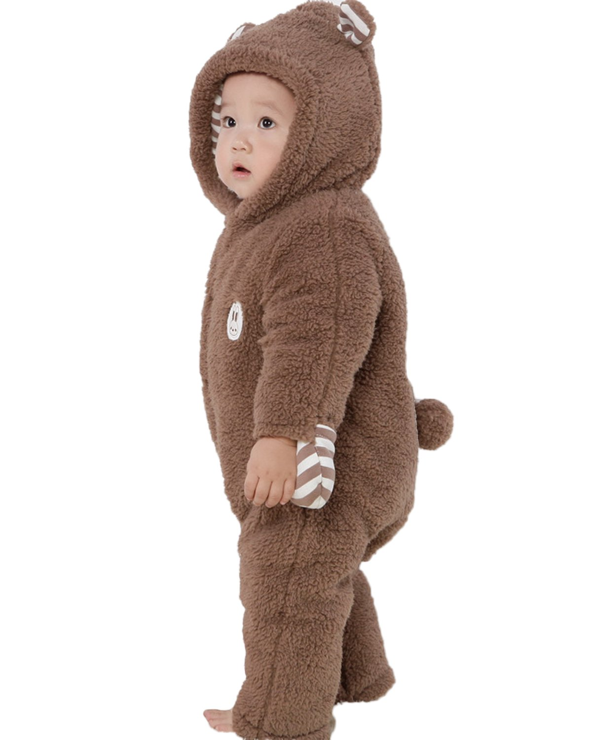 Kidsform Infant Winter Snowsuit Baby Bear Hoodie Romper Outfit Fleece Bunting Pram Suit Outerwear Coat Coveralls 0-24M Brown 3-6M by Kidsform (Image #2)