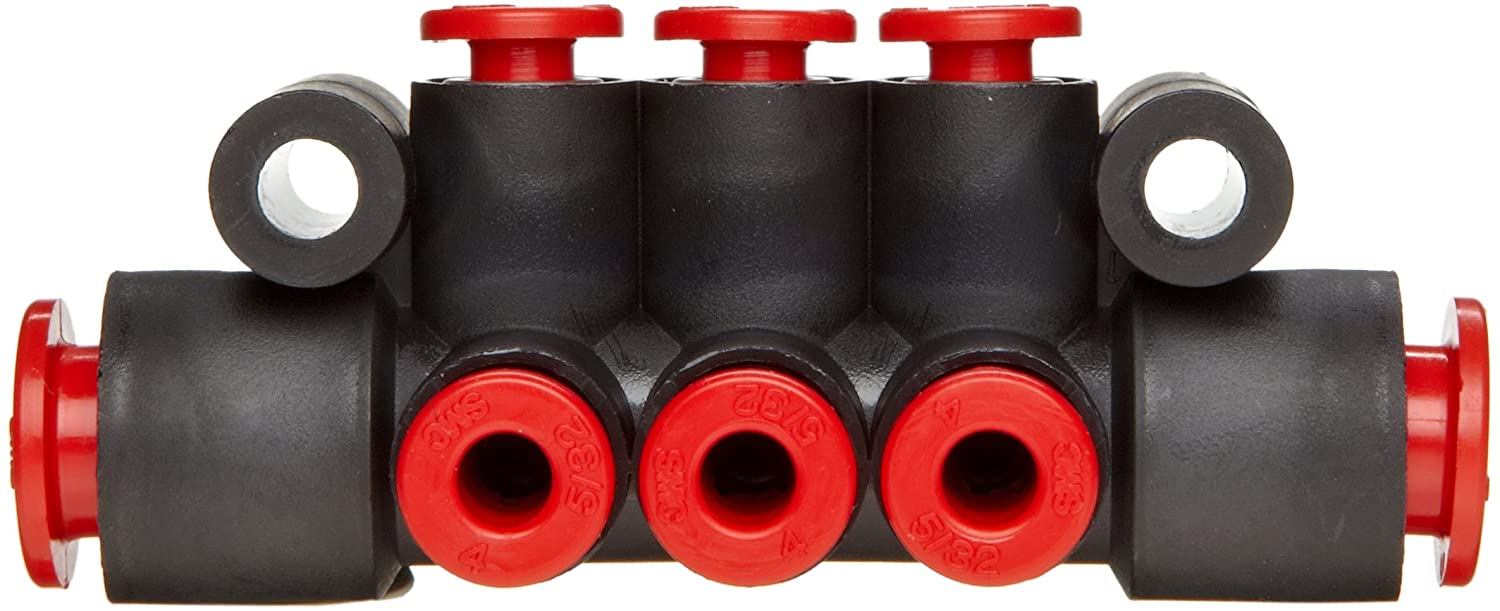 6 Outlets-5//32 Tube OD 2 Inlets-5//16 SMC KM11-03-09-6 PBT Push-To-Connect Tubing Manifold