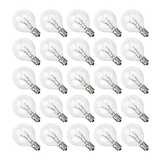 Shine Hai G40 Clear Glass Globe Bulbs With Candelabra Screw Base