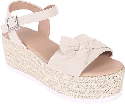 Syktkmx Womens Platform Wedge Espadrille Open Toe T Strap Slingback Strappy Heeled Sandals