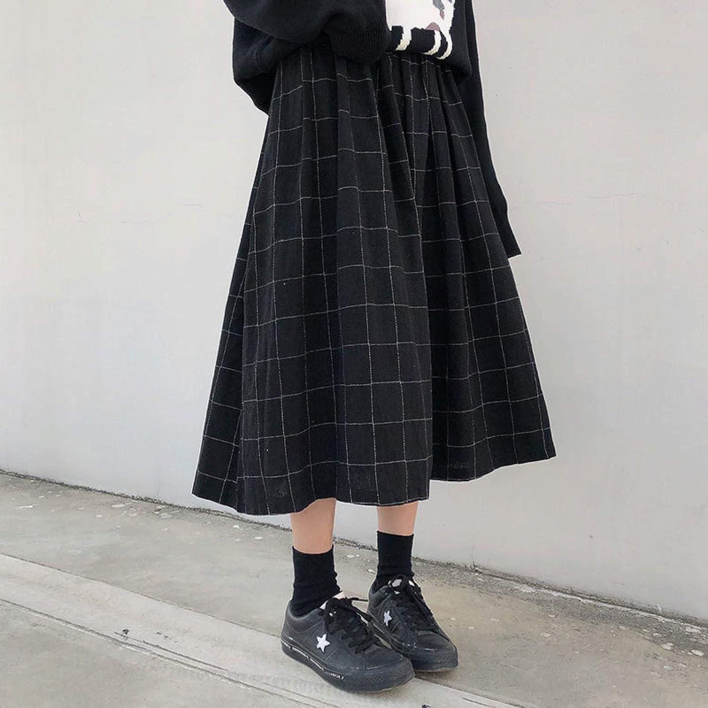 Falda Falda A Cuadros Estilo Faldas Largas De Cintura Elástica Alta Mujer Otoño Invierno Faldas Plisadas De Una Línea A Cuadros para Mujer