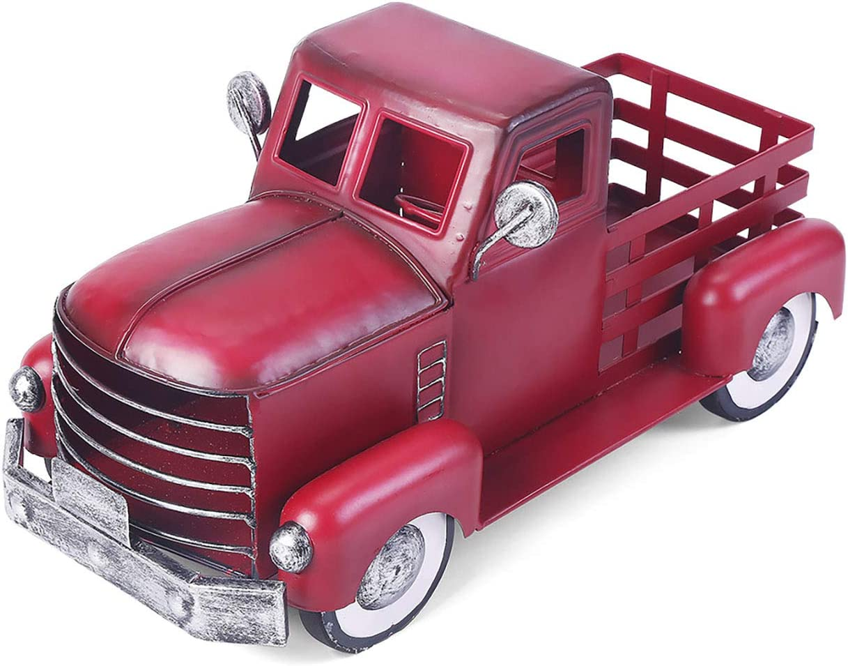 Red Truck Decor, Vintage Pick-up Metal Truck Planter, Farmhouse Decorative Tabletop Storage,Red Truck Christmas Decor & Great Gift for Holiday Decorations (Small Size)