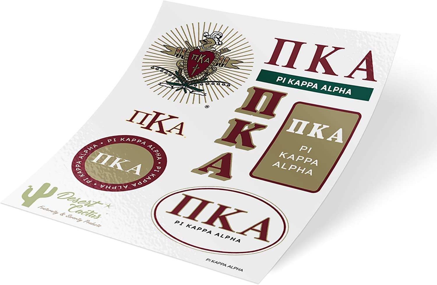 Pi Kappa Alpha Pike Standard Sticker Sheet Decal Laptop Water Bottle Car (Full Sheet - Standard)