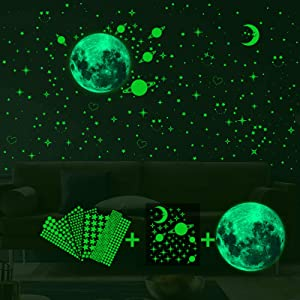 Ahsado 788pcs Glow in The Dark Stickers, Luminous Dots Stars and Moon Galaxy Wall Stickers Decor for Kids Bedroom or Birthday Gift, Wall Decals for Any Room, Bright and Realistic