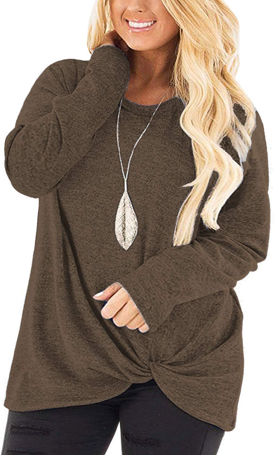 DOLNINE Womens Plus Size Knotted Tops Long Sleeve Tee Shirts Loose Casual Blouse