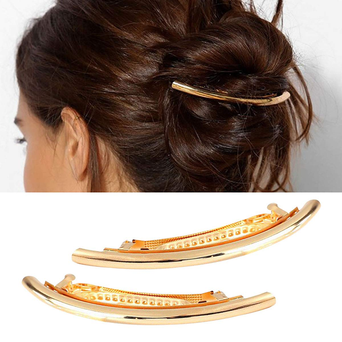 2PCS Women Girls Metal Alloy French Hair Barrette Hair Clip Simple Durable Hair Pin Hair Accessories Spring Clips (Gold) Fodattm