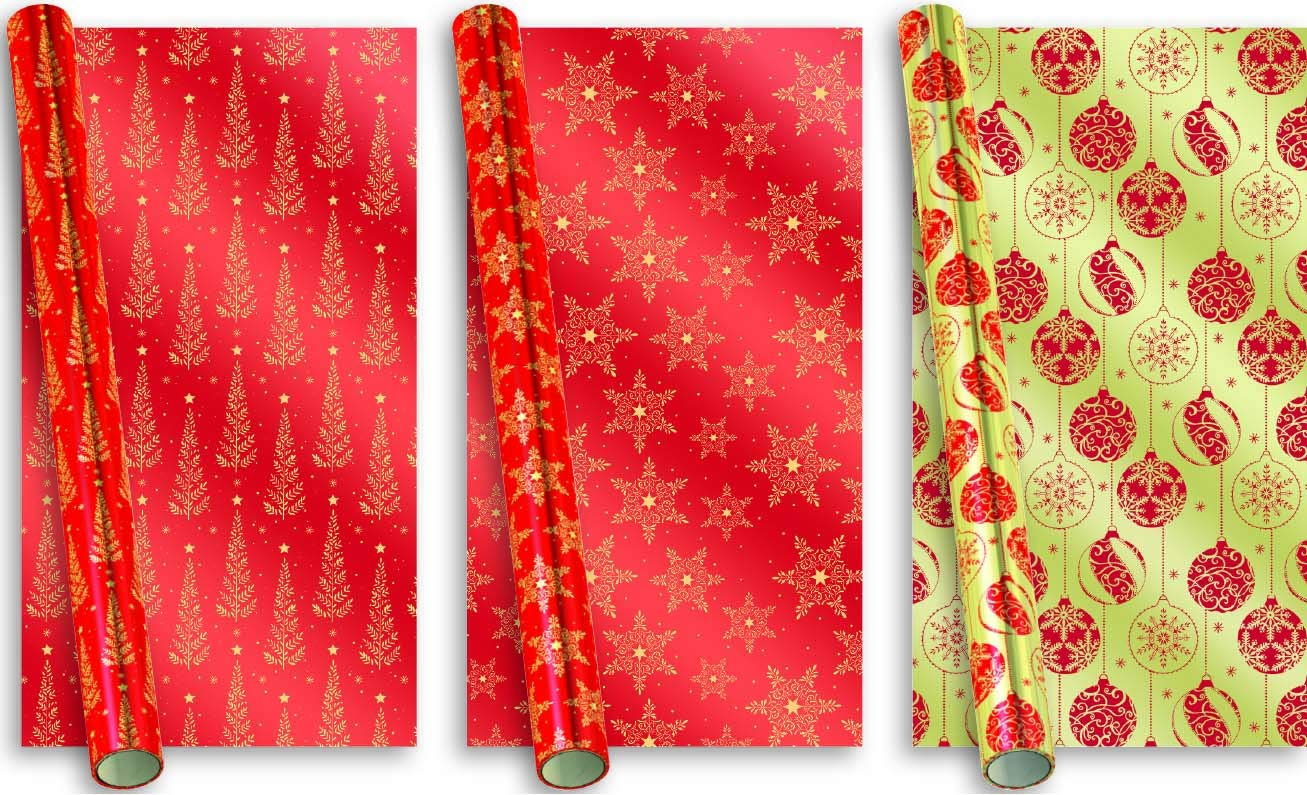 4 ROLLS of 6m Assorted Designes CHRISTMAS XMAS GIFT WRAP WRAPPING PAPER