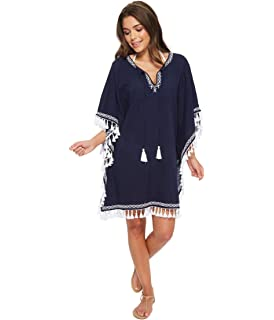 ff5d3be483 Tommy Bahama Womens Crinkle Embroidered Tunic Cover Up Mare Navy White Size  L XL