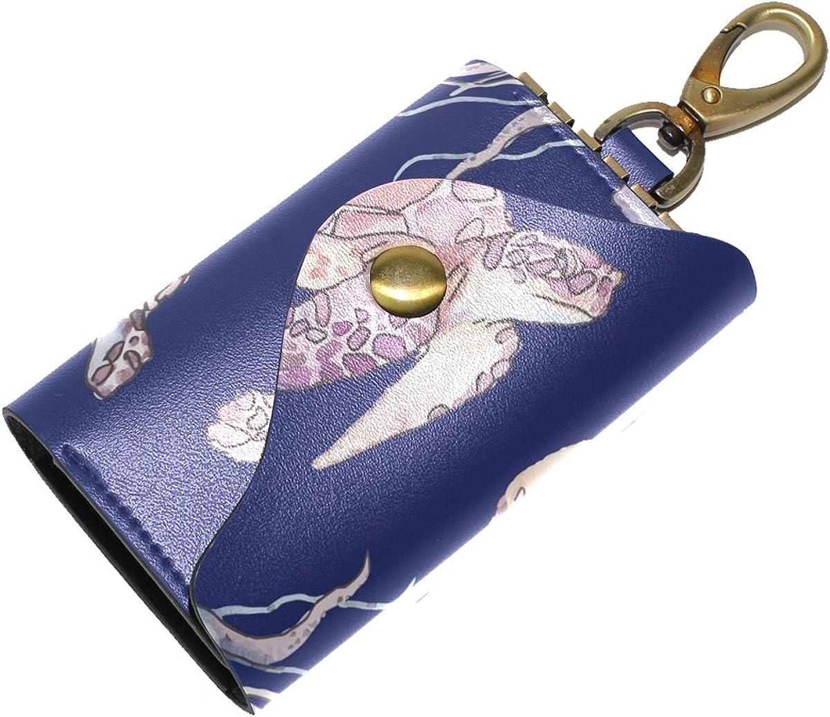 DEYYA Turtles Seamless Pattern Leather Key Case Wallets Unisex Keychain Key Holder with 6 Hooks Snap Closure
