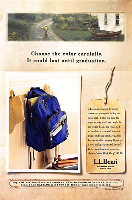 9114b32406 Print Ad 2002 L. L. Bean Deluxe Book Pack it could last until graduation