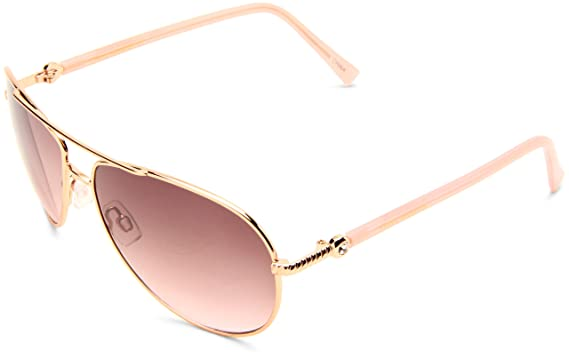 a170fe739 Steve Madden Womens S5187 RGLD Aviator Sunglasses,Rose Gold Frame/Smoke To  Pink Gradient