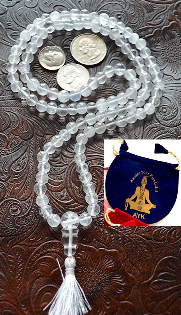 Crystal Quartz mala beads necklace 6mm 108+1 Himalayan Nirvana quartz Tibetan prayer beads yoga meditation mala - Energized for chanting mantra chakra mala - w/ free velvet rosary pouch - US Seller