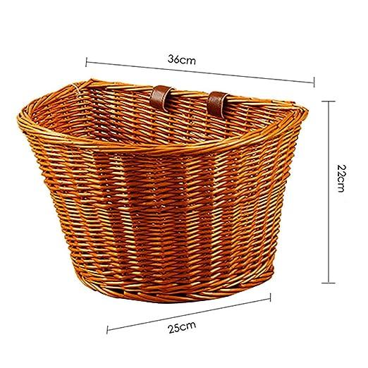 Cesta de Bicicleta de Mimbre Vintage Correa Ajustable de Cuero marrón Bicicleta/Ciclo/Compras