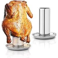 2 paquetes de soporte para latas de cerveza para pollo y horno ahumador – trono de pollo entero con recipiente para piel…