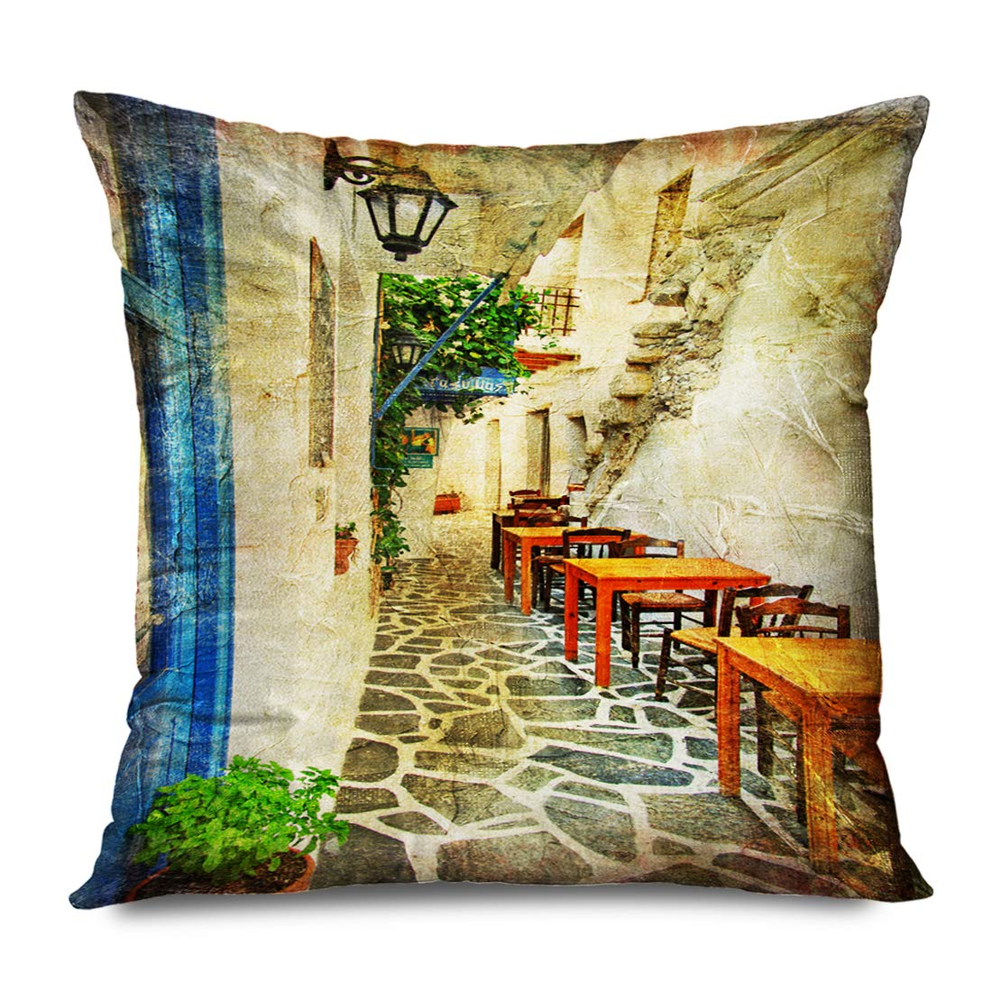 Ahawoso Throw Pillow Cover Square 18x18 Inches Old Traditional Greek Tavernas Painting in Oil Greece Vintage Restaurant Historical Naxos Crete Decorative Zipper Pillowcase Home Decor Cushion Case