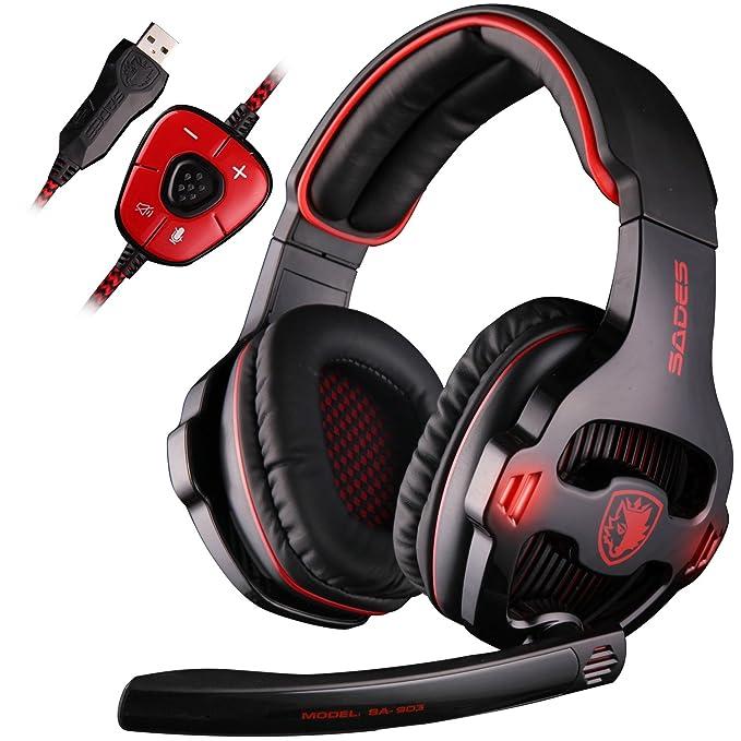 SADES SA903 7.1 Surround Pro USB PC Stereo Gaming Headset with High Sensitivity Mic Headband Headphone with Red Lighting Black
