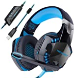 Gaming Headset TeckNet USB 7.1 Channel Surround Sound Over-Ear Gaming Headphones Headband With LED Lightning, Noise Cancelling Mic for PC Laptop