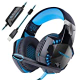 Gaming Headset,TeckNet 7.1 Channel Surround Sound Gaming Headset Headband Over-Ear Headphone With Noise Cancelling Microphone and LED Lighting For PC Computer Gaming, USB Connection-Black