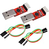 IZOKEE CP2102 Module USB to TTL 5PIN Serial Converter Adapter Module, UART STC Downloader for 3.3V and 5V with Jumper Wires (2pcs)