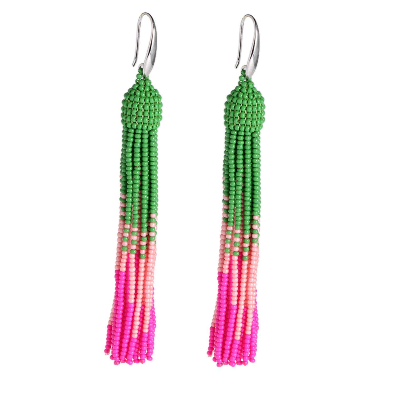 Bonnie Tassel Earring Bead Statement Dangle Drop Seed Glass Hook Earrings (Pink&Green)