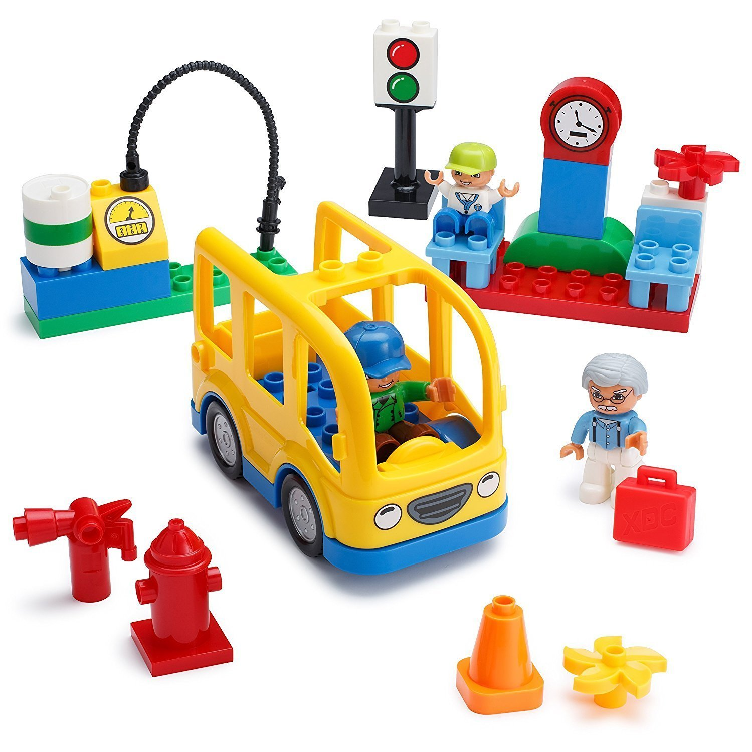 Play Build School Bus Building Blocks Set – 29 Pieces – Includes Vehicle, Bus Stop, Gas Station, Traffic Light, 3 Minifigures & Accessories – Recommended for Boys & Girls Ages 3+