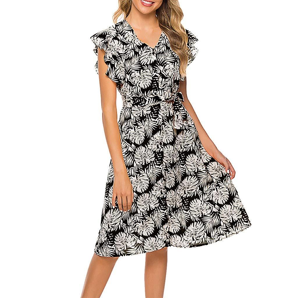 ❀Vine_MINMI❀ Women's Summer Wrap V Neck Bohemian Floral Print Ruffle Swing A Line Beach Mini Dress Skirt Gray by Vine_MINMI Dress