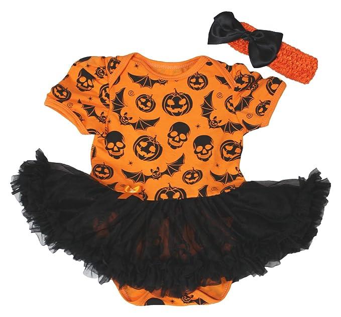 Vestido de Halloween calabaza naranja de calaveras body de tutú de color negro bebé Pelele Conjunto nb-18 m: Amazon.es: Ropa y accesorios