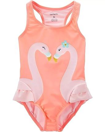 4744c6e98610d Carters Girls One Piece Swimsuit (2T, Neon Orange/Flamingo)