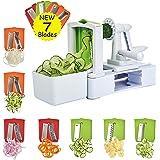 Spiralizer Vegetable Slicer, Corafei 7 Spiral Blades, Strongest, Heaviest Duty Vegetable Spiral Slicer, Veggie Salad Pasta Spaghetti Maker for Healthy Low Carb, Paleo, Gluten-Free Meals with Container