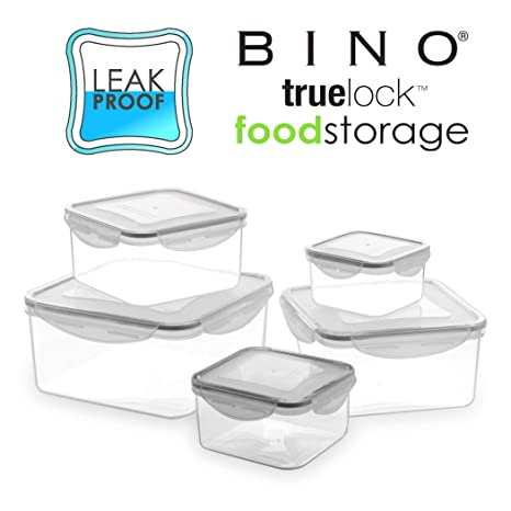 1fe52d46cf80 BINO TRUELOCK 10-Piece Square Leak-Proof Plastic Snap Lock Food Storage  Container Set with Lids, Coal Grey
