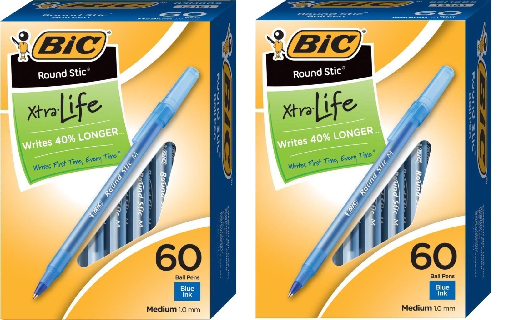 BIC Round Stic Xtra Life Ball Pen, Medium Point (1.0 mm), Blue lbbSVt, 2Pack (60 Count)