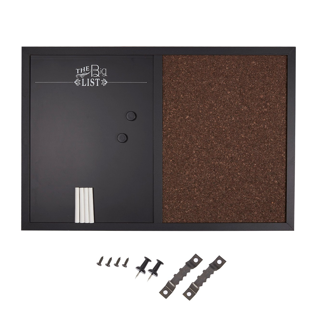 Message Center Bulletin Wall Board - Magnetic Chalkboard and Corkboard Combination for Office Supplies, Home Decoration with 4 Chalk Markers, 2 Round Magnets and 4 Push Pins, 23.6 x 15.7 x 0.7 inches
