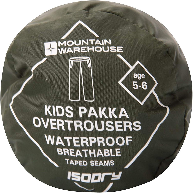 Traspiranti Mountain Warehouse Pakka per Andare a Scuola con Il maltempo sovrapantaloni Impermeabili da Bambini Cuciture Nastrate Regolazione della Caviglia