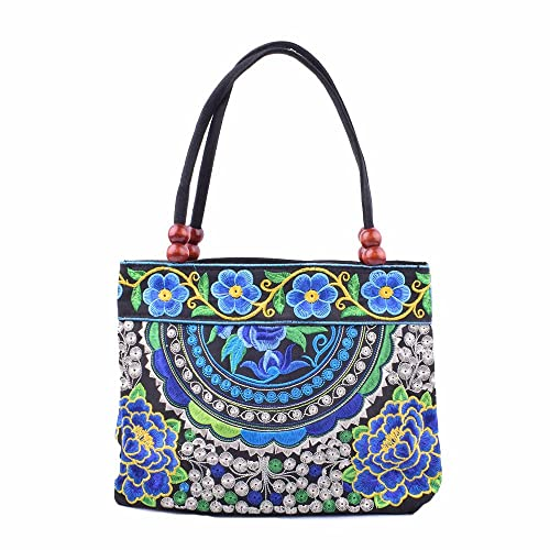 cb979e72e7 Amazon.com  Vintage Embroidery Boho Womens Handbag Mandala Flower  Embroidered Shoulder Bag (Blue Bug)  Shoes