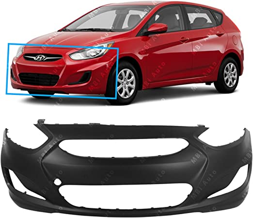 MBI AUTO Rear Bumper Cover Replacement for 2012-2017 Hyundai Accent Sedan 12-17 Primered HY1100184