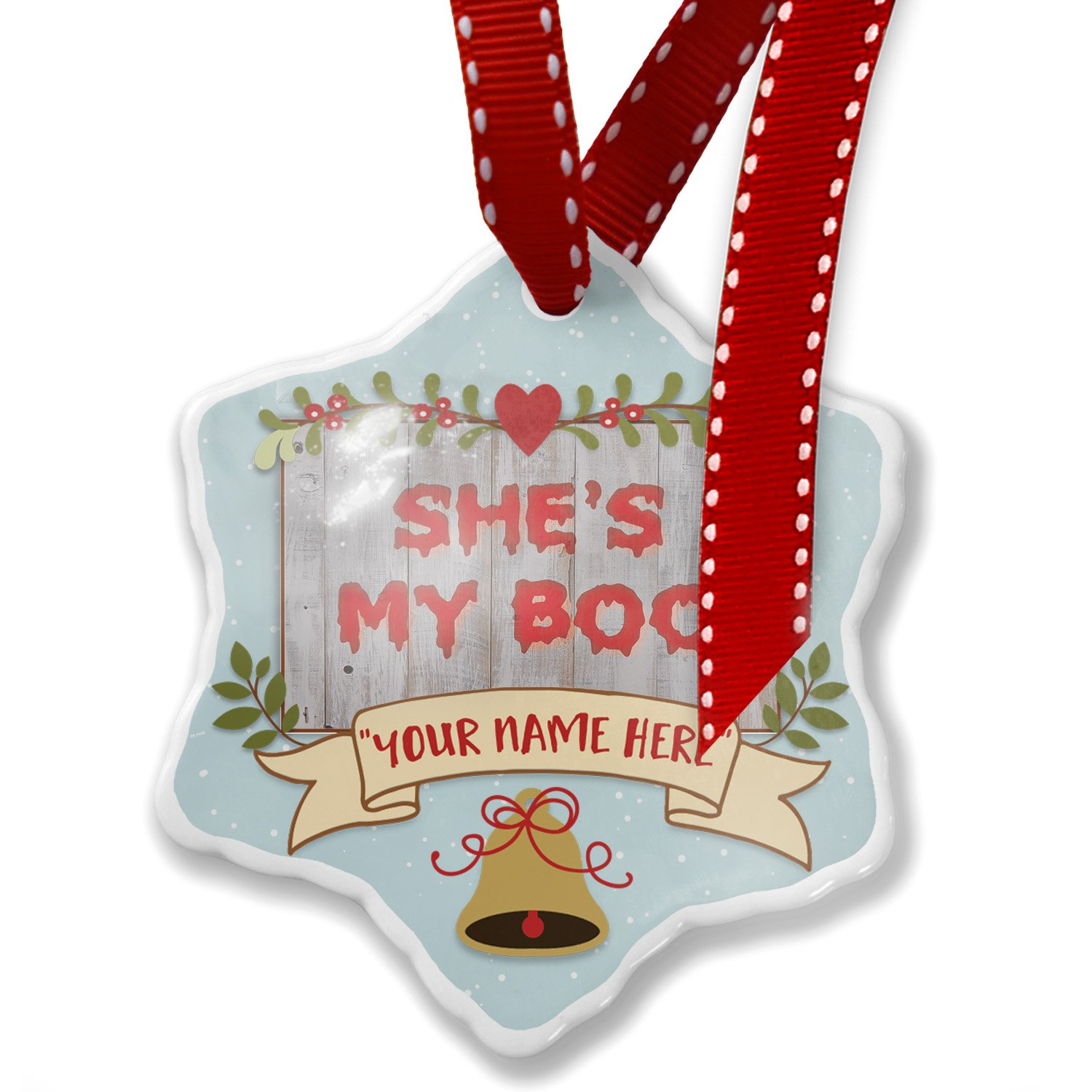 Add Your Own Custom Name, She's My Boo Halloween Bloody Wall Christmas Ornament NEONBLOND