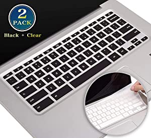 "2 Pack HP Chromebook 14 Keyboard Cover, Silicone Keyboard Skin for HP Chromebook 14-ak 14-ca 14-db Series/Chromebook 14 G2 G3 G4 G5 Series, HP Chromebook x360 11.6"" Protector(Black+Clear)"